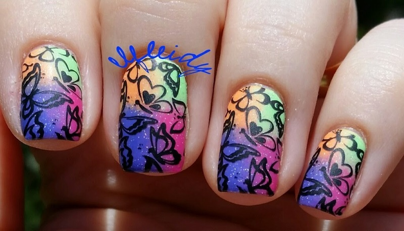 Neon butterflies nail art by Jenette Maitland-Tomblin
