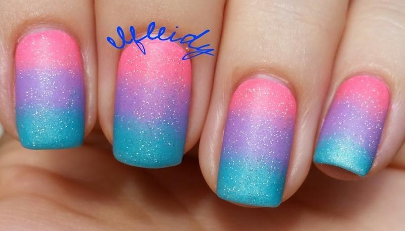Neon gradient nail art by Jenette Maitland-Tomblin