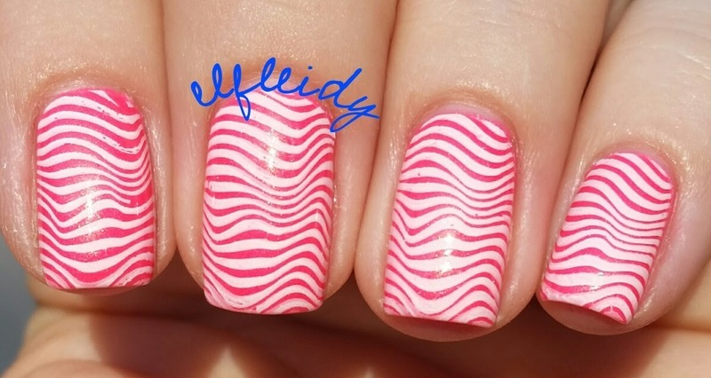 Wavy stripes nail art by Jenette Maitland-Tomblin