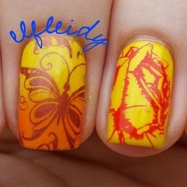 Roses and butterflies nail art by Jenette Maitland-Tomblin