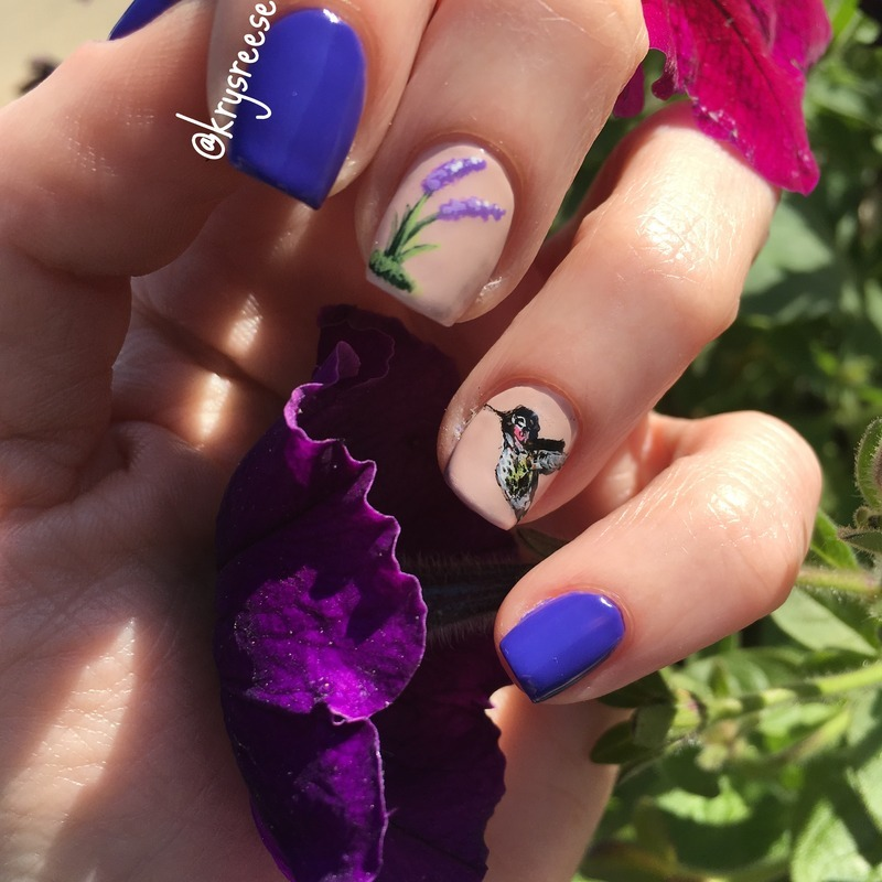 Hummingbird  nail art by Krystal Reese