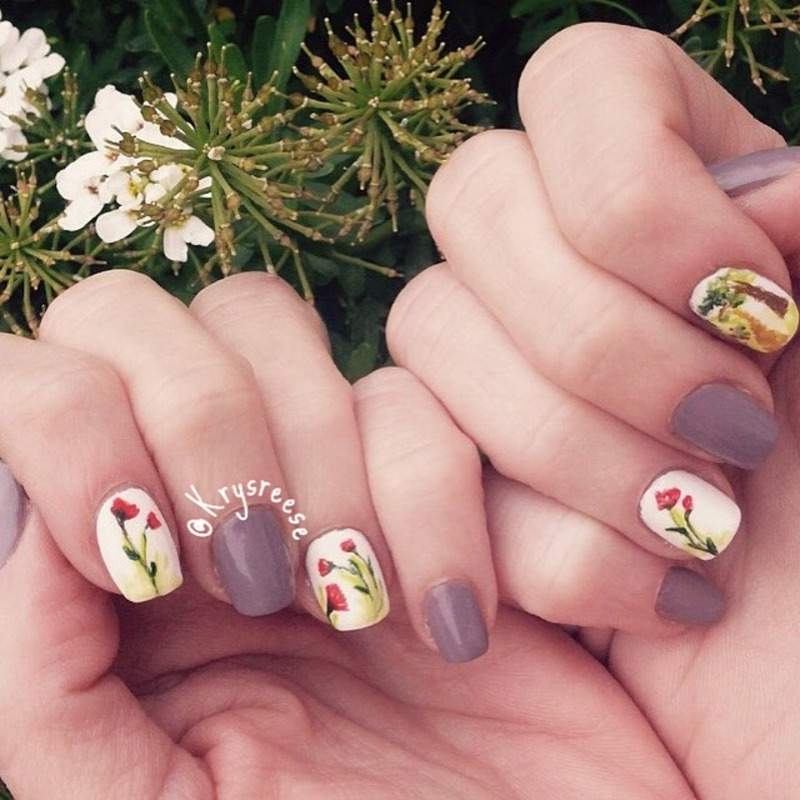 Tree and pathway nail art by Krystal Reese