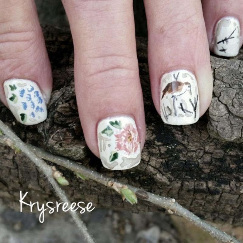 Bird and flower nail art by Krystal Reese