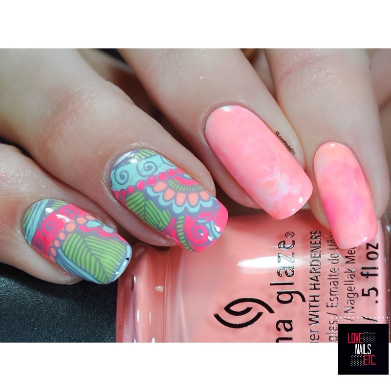 Pinky Paisey nail art by Love Nails Etc
