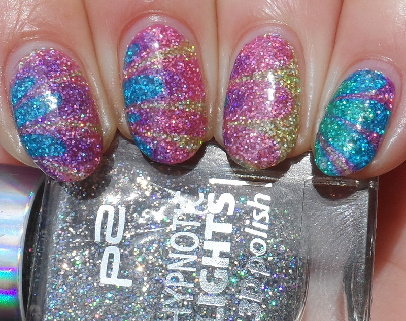 Water Marbling over Glitter Base nail art by Plenty of Colors