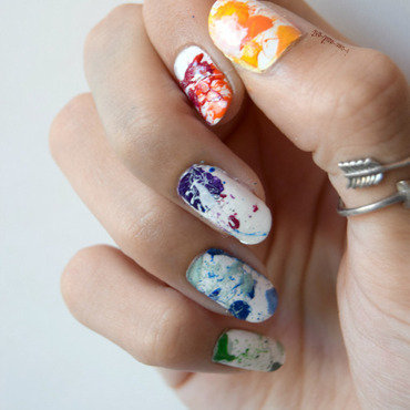 Rainbow Splatter nail art by i-am-nail-art