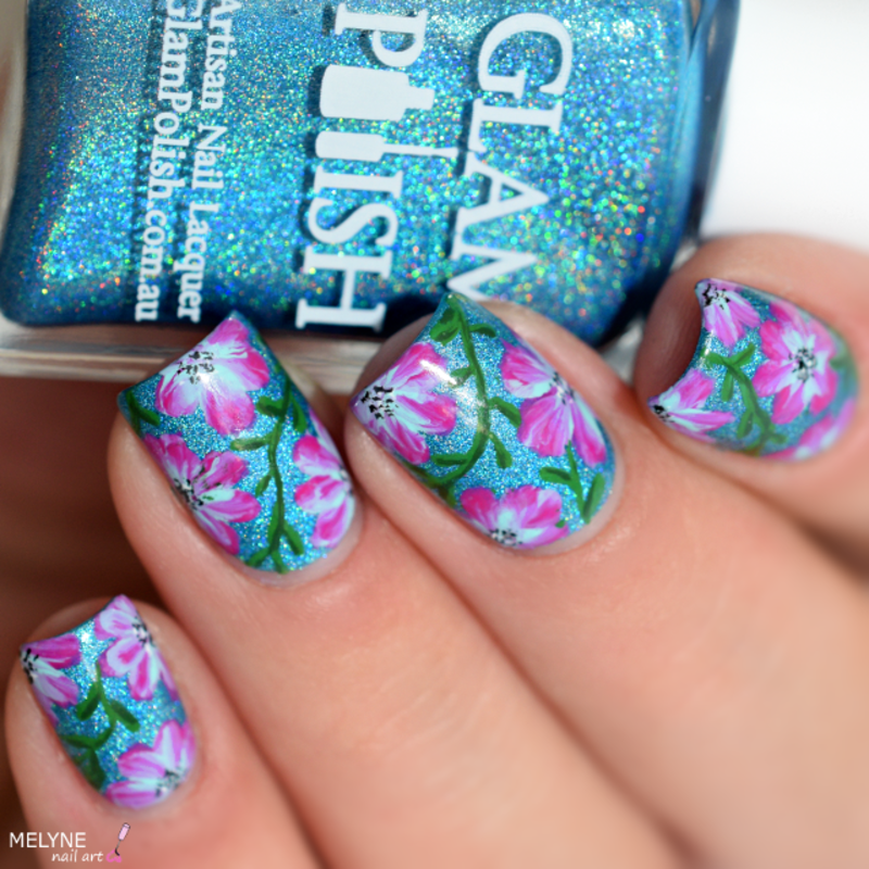 Floral nails with acrylic paint (easy) nail art by melyne nailart