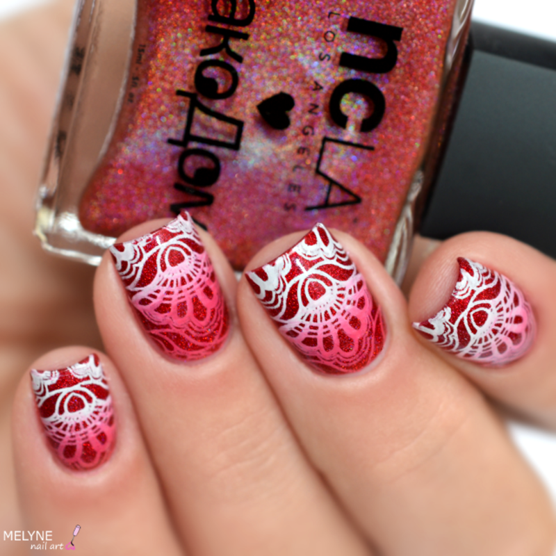 Gradient stamping nail art by melyne nailart