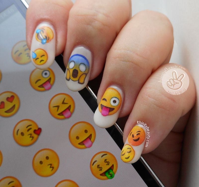 Emoji Decals nail art by Ithfifi Williams