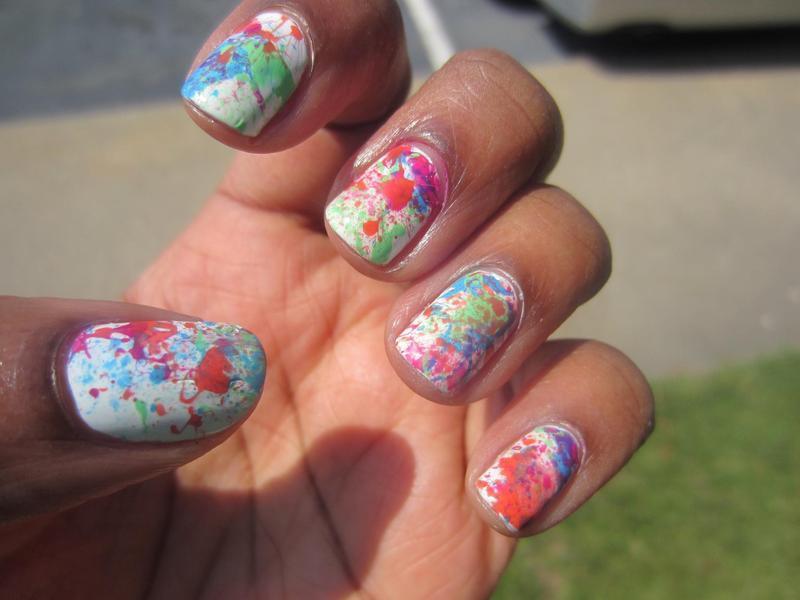 Splatter nails  nail art by Leah