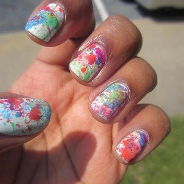 Splatter nails  nail art by Leah