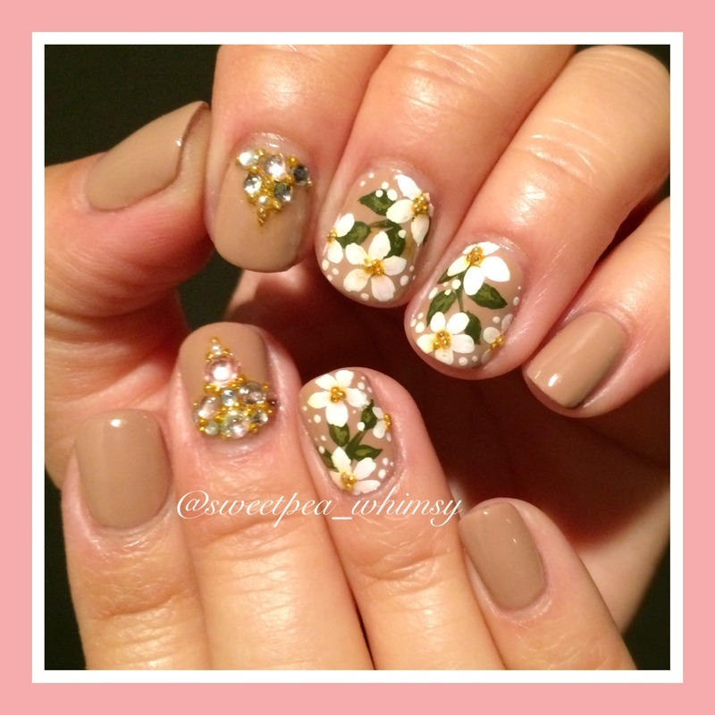 🌸 Blossoms on Nude nail art by SweetPea_Whimsy