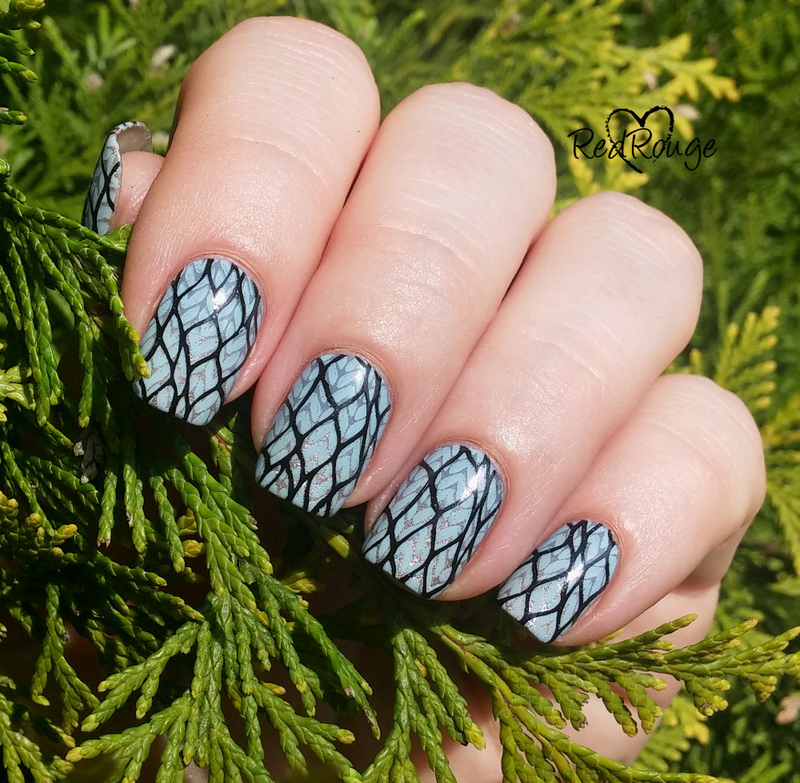 Double stamping on gradient nail art by RedRouge