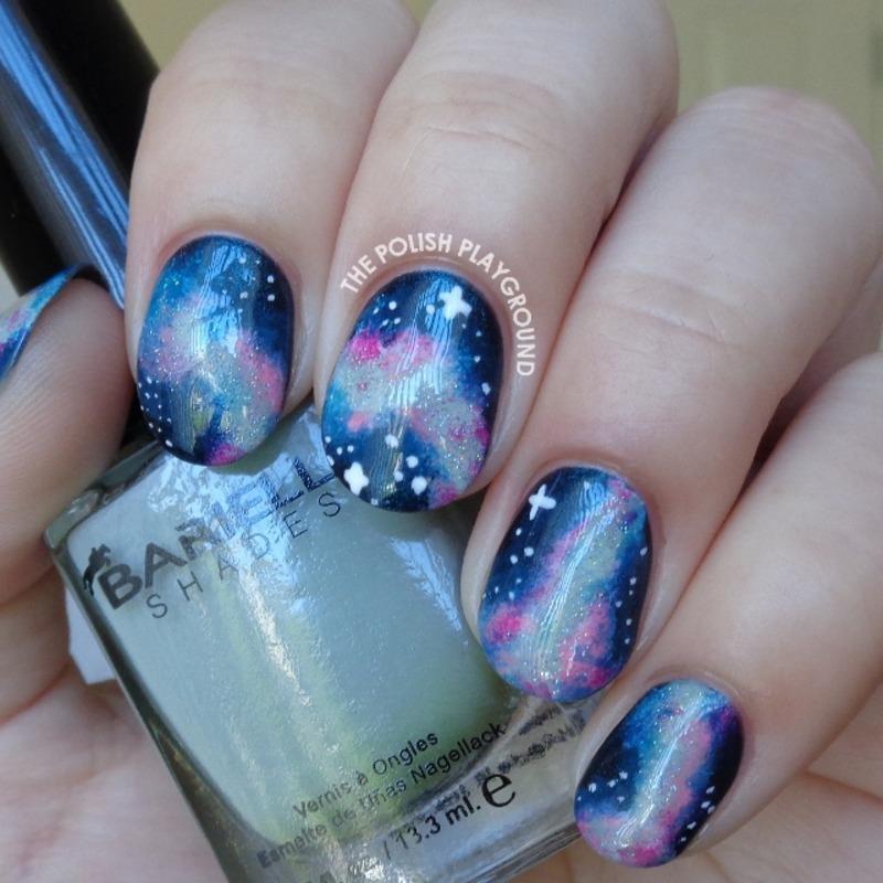 Blue and Pink Galaxy Inspired Nail Art nail art by Lisa N