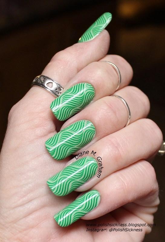 Green Stripes nail art by PolishSickness