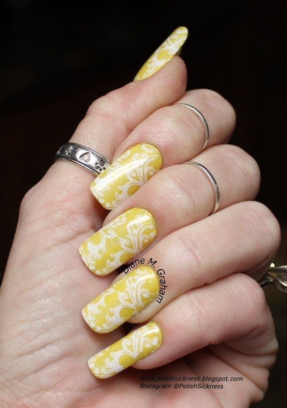 Yellow and White nail art by PolishSickness