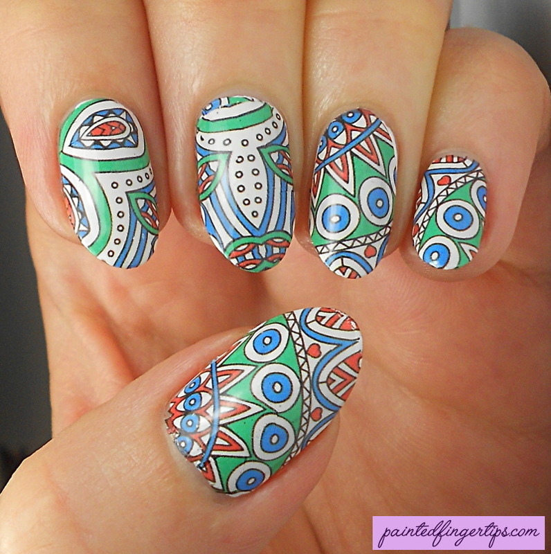 Gorgeous patterned water decals nail art by Kerry_Fingertips