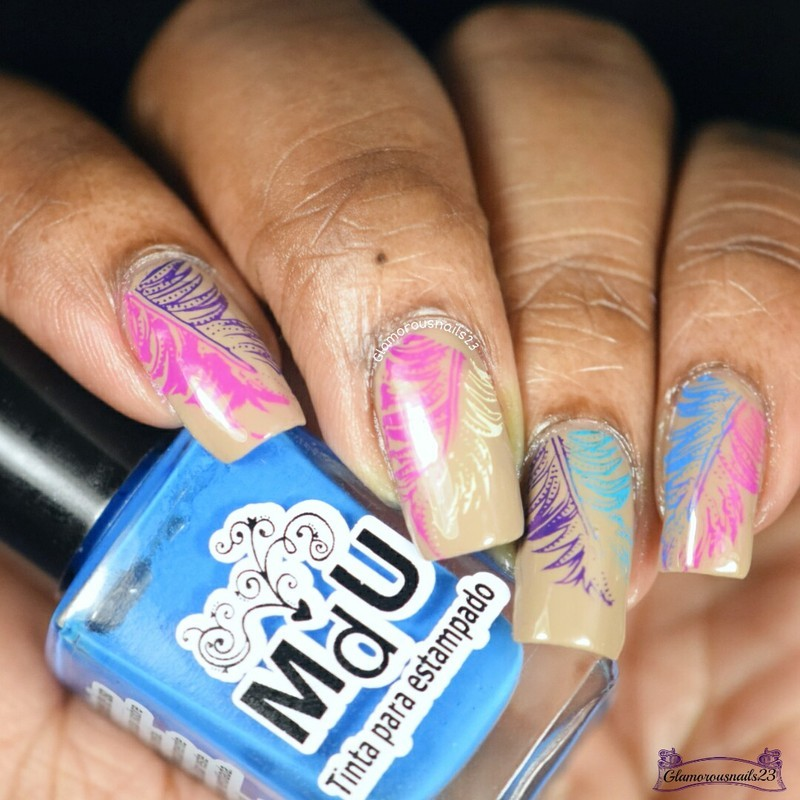 WNAC May 2016: Feathers nail art by glamorousnails23