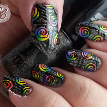 Freehand Rainbow Swirls With Mini Acrylic-Gradients nail art by Ithfifi Williams