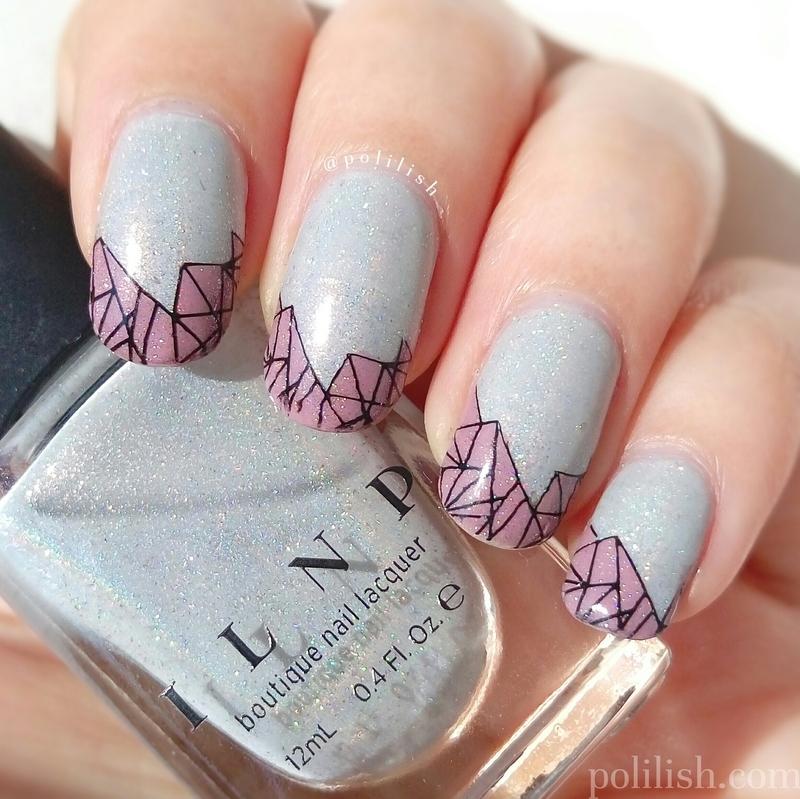 Reverse stamped mosaic nails nail art by polilish