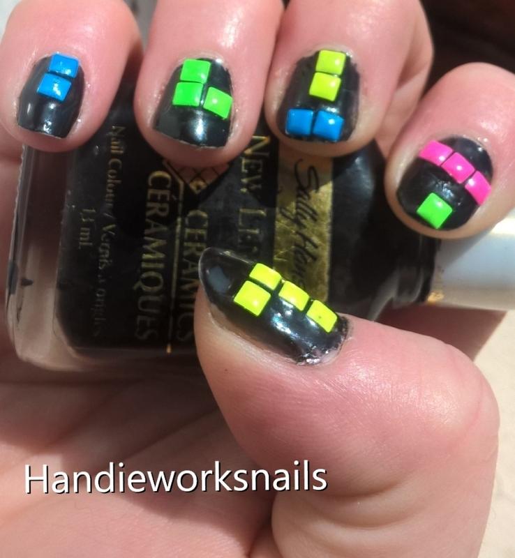 tetris nail art by Sazjay
