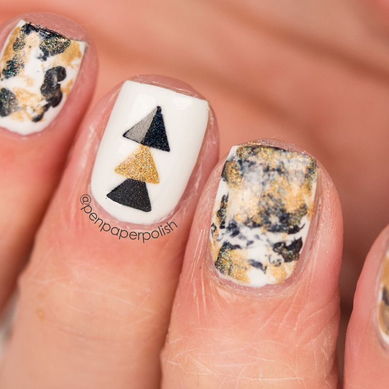 Black and Gold nail art by Misty