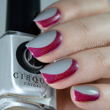 Simple Side French  nail art by Furious Filer