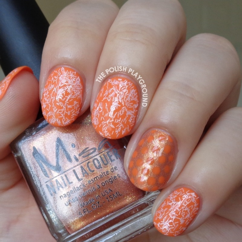 Pink Fuzzy Glitters with Orange Polka Dot Accent nail art by Lisa N