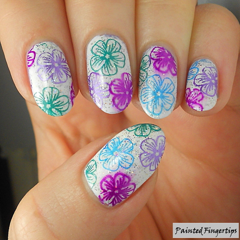 Multicoloured floral nail art by Kerry_Fingertips