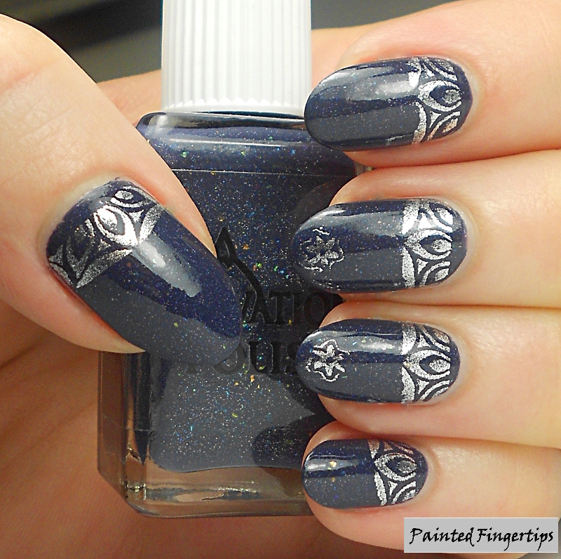 Stamped half-moons nail art by Kerry_Fingertips
