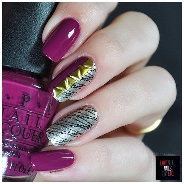 Burgundy & Gold nail art by Love Nails Etc