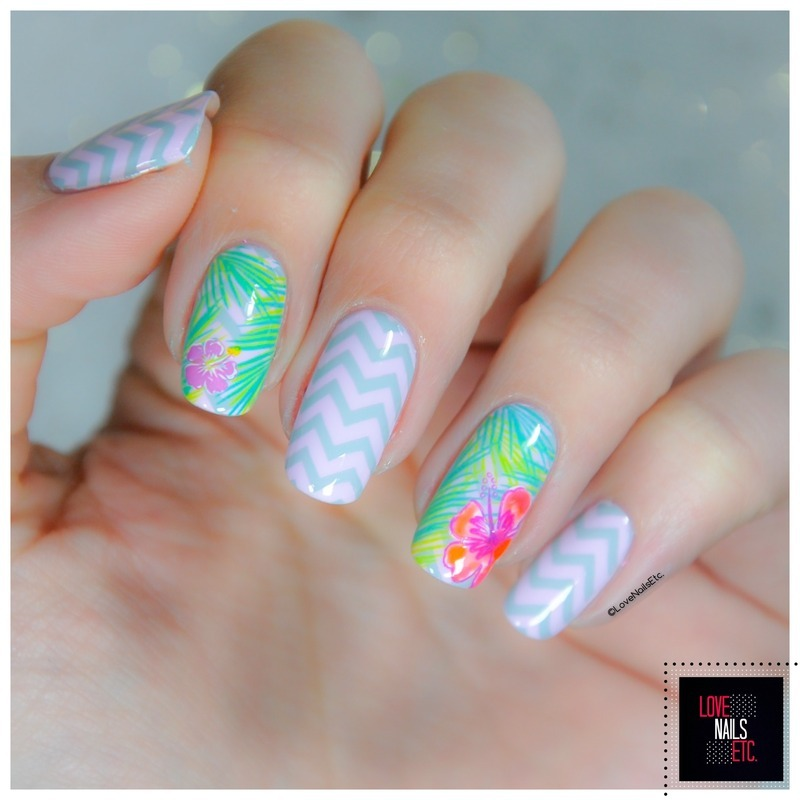 Tropical& Chevrons nail art by Love Nails Etc