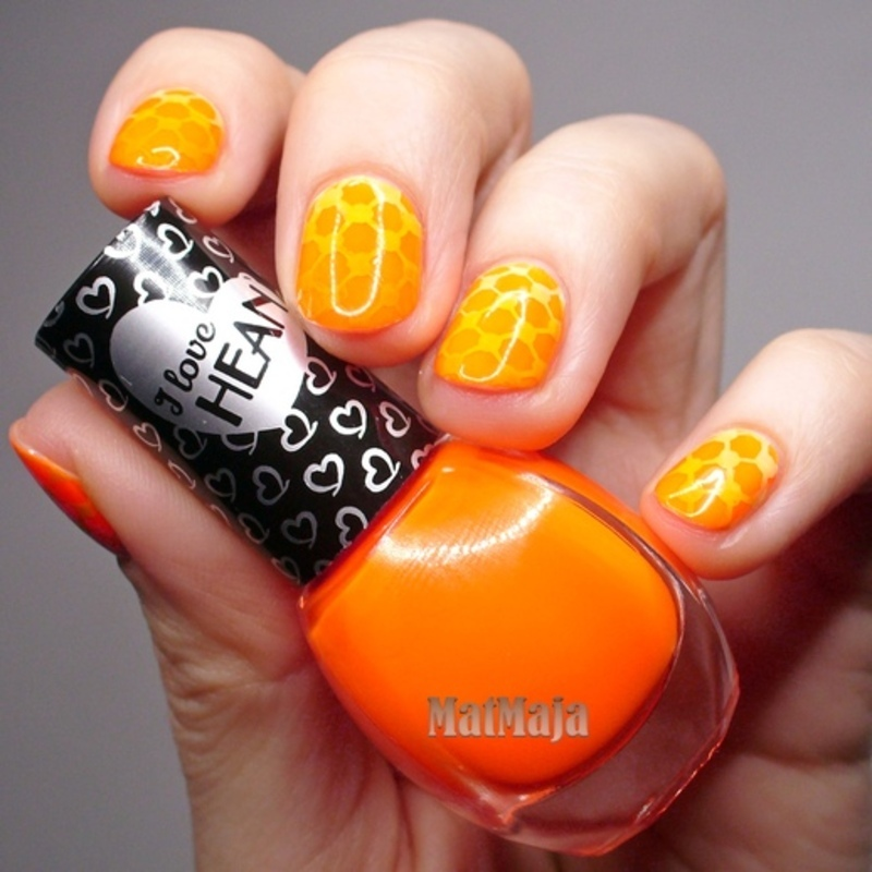 orange neon gradient stamping  nail art by MatMaja