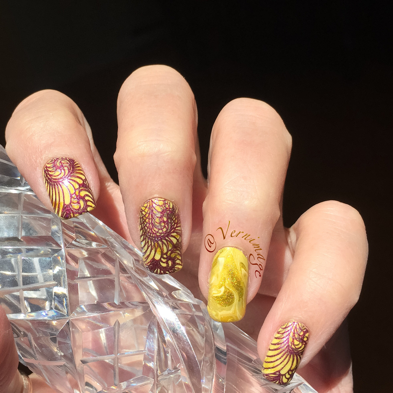 Yellow drymarble and double stamping nail art by Vernimage