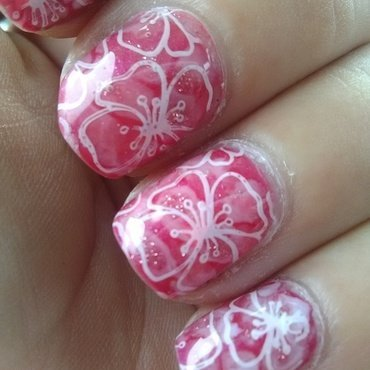 summertime hibiscus nail art by Sunny