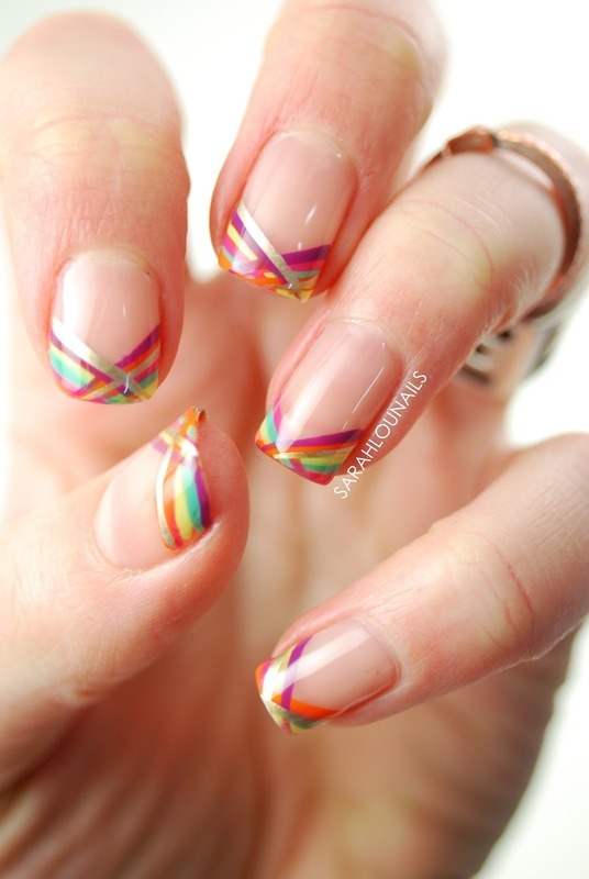 Bright Stripe Tips! nail art by Sarah S