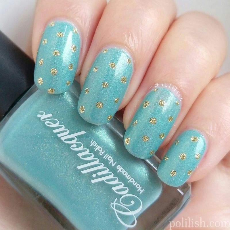 Gold polka dots nail art by polilish