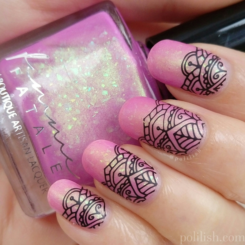 Crown of Ribbons + stamping nail art by polilish