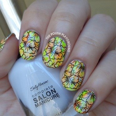 Neon Coral and Green Dry Brush with Black Floral Stamping nail art by Lisa N