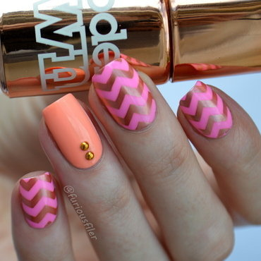Neon Chevrons  nail art by Furious Filer