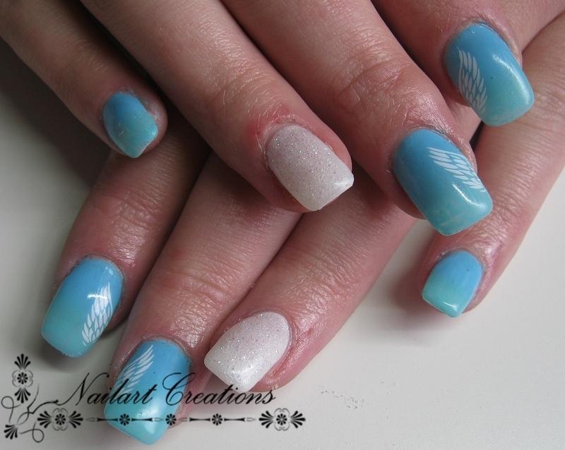 Angel Wings nail art by Nailart Creations