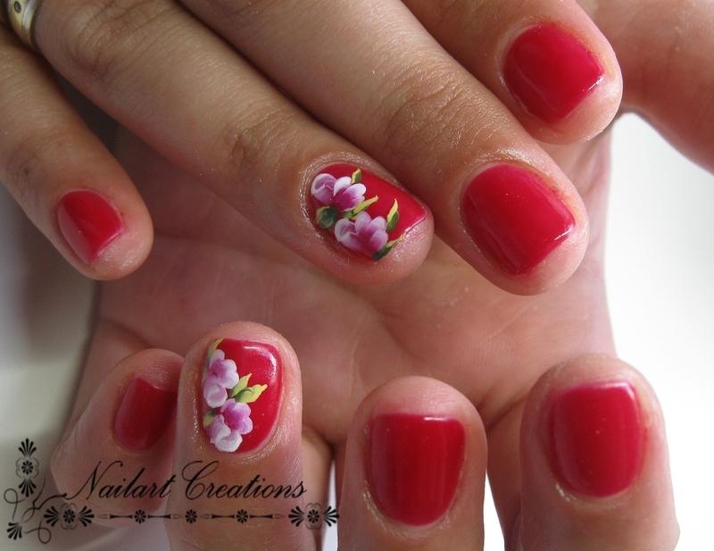 One stroke roses nail art by Nailart Creations