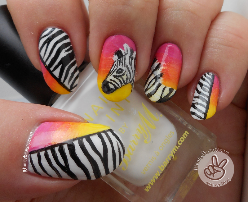 Freehand Zebra With Acrylic-Gradients + Print nail art by Ithfifi Williams