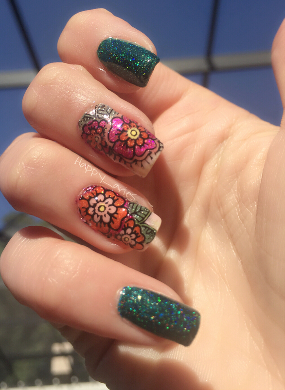 spring flowers  nail art by Happy_aries
