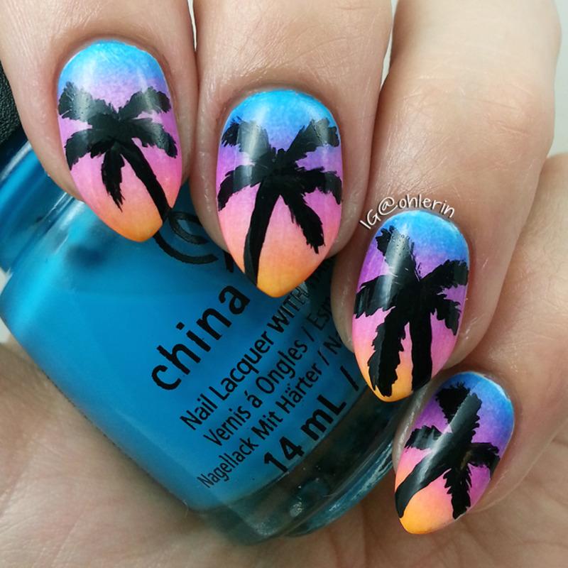 Palm trees nail art by Lindsay