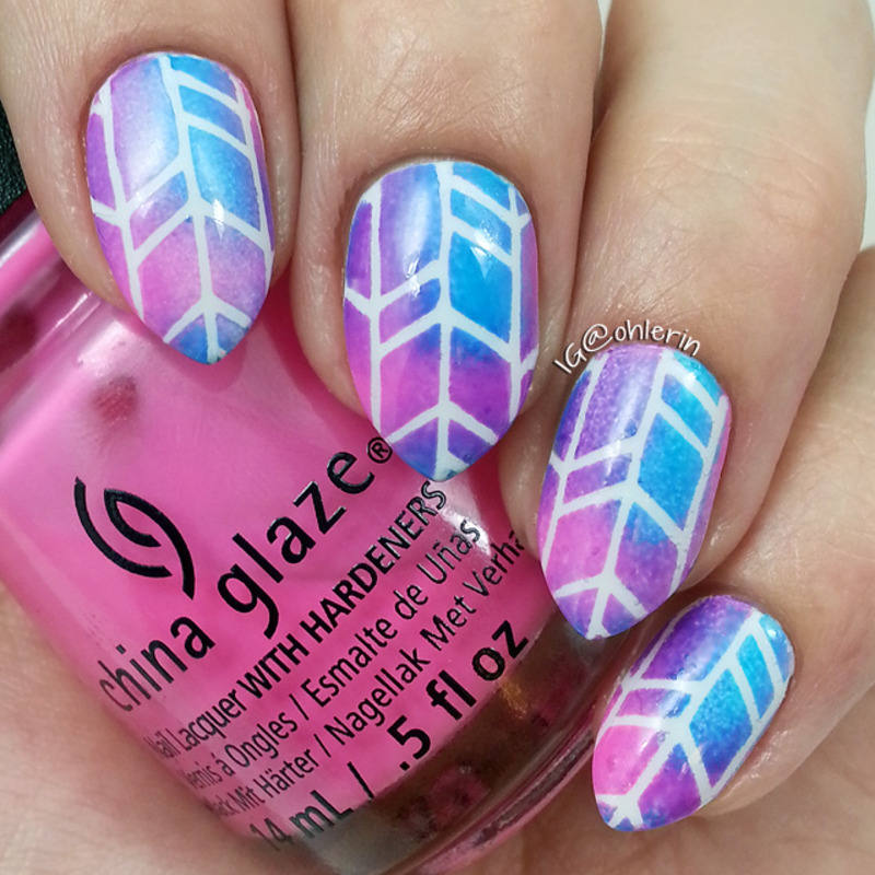 Colorful tire tracks nail art by Lindsay