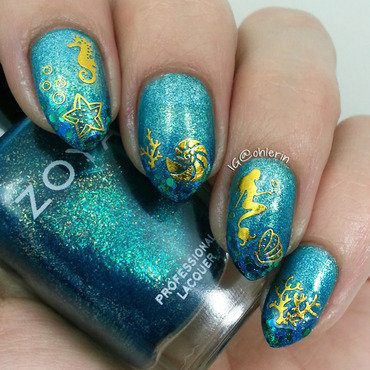Under the sea nail art by Lindsay