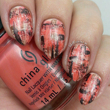 Coral dry brush nail art by Lindsay