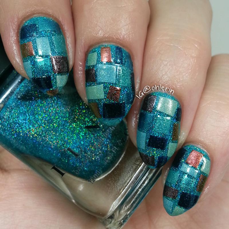 Mosaic nail art by Lindsay
