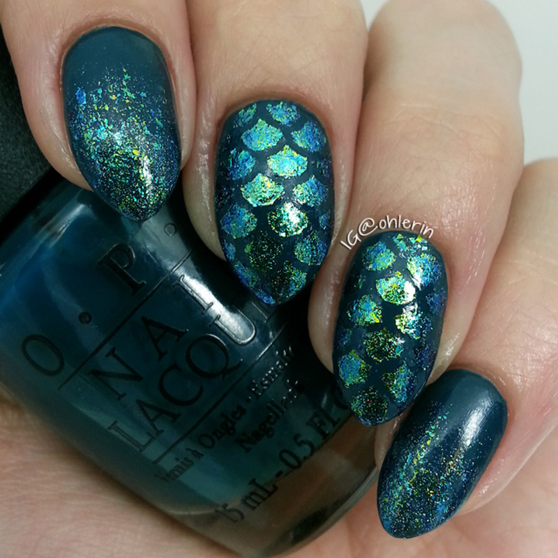 mermaid scales nail art by Lindsay